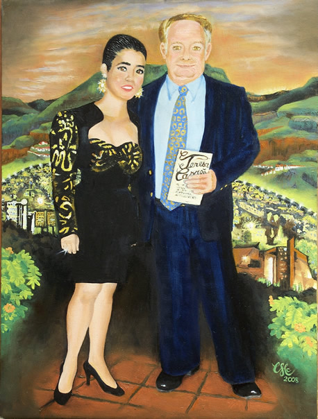 """Theatre Night""  18""x24""oil, full body portrait with Venezuela landscape"