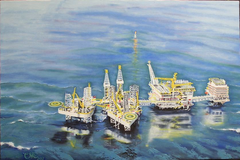 "Off Shore Oil Plantform 36""x24"" oil"